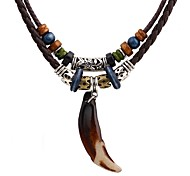 cheap -Men's Pendant Necklace / Layered Necklace - Leather Spike Punk, Rock Brown Necklace For Halloween, Going out