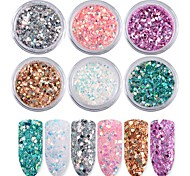 6 color Nail Art Iridescence Flash Powder Sequins 1g/box