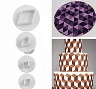 4 шт / набор печенье плунжер резчик квадратный алмаз овальной формы помадный торт украшение diy инструмент