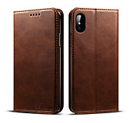 cheap -Case For Apple iPhone X iPhone 8 iPhone 8 Plus Card Holder Wallet with Stand Flip Full Body Cases Solid Color Hard PU Leather for iPhone