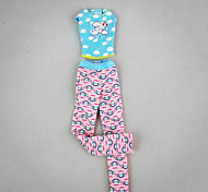 Casual Outfit with Cute Monkey Imprint For Barbie Doll For Girl's Doll Toy