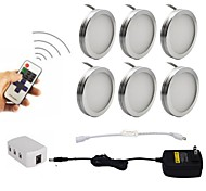 6PCS 2W Dimmable LED Under Cabinet Puck Lights with Wireless RF Remote Control for Furniture Lighting  85-265V