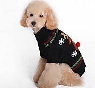 Недорогие -Кошка Собака Плащи Свитера Одежда для собак Северный олень Черный Красный Спандекс Хлопко-льняная смешанная ткань Костюм Для домашних