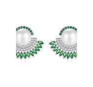 Women's Stud Earrings Drop Earrings Pearl AAA Cubic Zirconia Natural Luxury Cubic Zirconia Geometric Jewelry For Party Daily