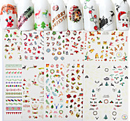 8 Nail Art Sticker  Pattern Accessories Art Deco/Retro 3D Nail Stickers Cartoon 3-D Christmas New Year Sticker DIY Supplies Makeup