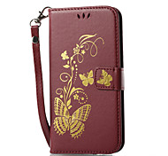 Case For Samsung Galaxy J7 (2017) J3 (2017) Wallet Card Holder with Stand Flip Pattern Magnetic Embossed Full Body Solid Color Butterfly
