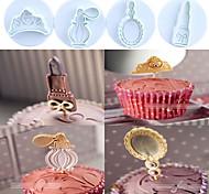 Недорогие -4 шт. / Набор туалетных принадлежностей (корона, парфюмерия, зеркало, помада) пластиковые торт печенье плунжерные резаки помадные формы