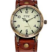 preiswerte -Herrn Damen Quartz Armbanduhr Chinesisch Armbanduhren für den Alltag Leder Band Retro Freizeit Einzigartige kreative Uhr Elegant Schwarz