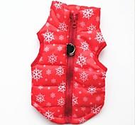 Недорогие -Кошка Собака Жилет Одежда для собак На каждый день Сохраняет тепло Рождество В снежинку Черный Красный Костюм Для домашних животных