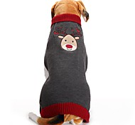Dog Coat Sweater Dog Clothes Party Holiday Casual/Daily Wedding Fashion Bodysuits Christmas New Year's Reindeer Gray Costume For Pets