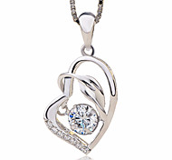 Women's Pendant Necklaces AAA Cubic Zirconia Heart Sterling Silver Zircon Love Fashion Jewelry For Gift Ceremony