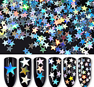 6box Different Sizes of Silver Five Pointed Star Sequins Laser Colorful Sequins Nail Decorations
