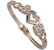 Women's Cuff Bracelet Imitation Diamond Personalized Classic Rhinestone Alloy Heart Jewelry For Party Daily