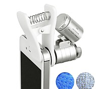 60x zoom microscópio magnifier led uv light clip-on micro lente para universal celulares universal clamp para iphone