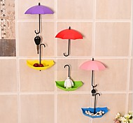 cheap -3Pcs Colorful Umbrella Wall Hook Key Hair Pin Holder Organizer Decorative Ramdon Color