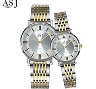 Недорогие -ASJ Для пары Модные часы Наручные часы Японский Кварцевый Нержавеющая сталь Группа Серебристый металл
