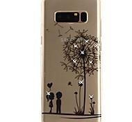 Недорогие -Кейс для Назначение SSamsung Galaxy Note 8 Стразы Ультратонкий Прозрачный С узором Кейс на заднюю панель одуванчик Мягкий ТПУ для Note 8