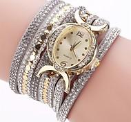 Women's Fashion Watch Bracelet Watch Simulated Diamond Watch Chinese Quartz Imitation Diamond PU Band Charm Casual Elegant Black Blue Red