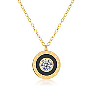 Women's Pendant Necklaces Cubic Zirconia Round Stainless Steel Zircon Fashion Adorable Jewelry For Gift Daily