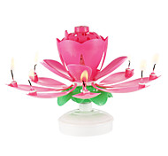Happy Birthday Candles Electric Led For Cake Musical Lotus Flower Art Rotating Lights Lamp Party Decoration