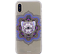 cheap -Case For Apple iPhone X iPhone 8 Ring Holder Transparent Pattern Back Cover Mandala Soft TPU for iPhone X iPhone 8 Plus iPhone 8 iPhone 7
