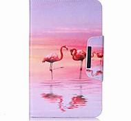 cartera de titular de tarjeta de patrón de flamingo con estuche de pie flip magnético pu caso de cuero para Samsung Galaxy Tab e 8.0 t377