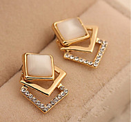 Women's Stud Earrings Imitation Diamond Fashion Classic Zircon Alloy Square Jewelry For Daily Stage