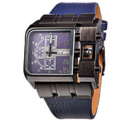 Недорогие -Муж. Модные часы Кварцевый Натуральная кожа Группа Люкс Черный Белый Синий Красный Коричневый