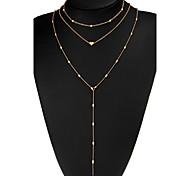 abordables -Mujer Collares en capas Forma de Corazón Forma Geométrica Chapado en Oro Legierung Joyas Para Noche Discoteca