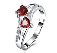 Women's Band Rings Cubic Zirconia Heart Fashion Zircon Heart Jewelry For Party Halloween