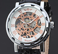Men's Dress Watch Wrist watch Chinese Mechanical manual-winding Hollow Engraving Leather Band Vintage Elegant Black