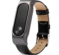 For Xiaomi Miband 2 Stainless Steel Metal Case with a Genuine Leather Watch Strap