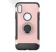 cheap -Case For Apple iPhone X iPhone 8 Shockproof Ring Holder Back Cover Solid Color Armor Hard PC for iPhone X iPhone 8 Plus iPhone 8 iPhone 7