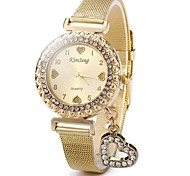 Mujer Reloj Casual Reloj de Moda Reloj de Cristal Pavé Chino Cuarzo Reloj Casual Acero Inoxidable Banda Destello Heart Shape Casual Dorado