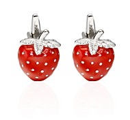 cheap -Fruit Heart Red Cufflinks Copper Romantic Jewelry Valentine Men's Costume Jewelry