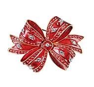 Муж. Жен. Броши Подарок Циркон Позолота Сплав В форме банта Бижутерия Назначение Рождество Новый год