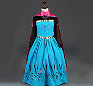cheap -Princess Fairytale Anna Dress Cloak Kid's Christmas Masquerade Birthday Festival / Holiday Halloween Costumes Red Color Block Dresses