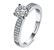 cheap -Women's Band Ring Crystal Silver Zircon Alloy Circle Geometric Classic Fashion Wedding Party Birthday Engagement Gift Daily Valentine