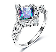 cheap -Women's Band Rings Synthetic Aquamarine Formal European Fashion Copper Glass Geometric Jewelry Wedding Party