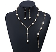 cheap -Women's Imitation Pearl Jewelry Set 1 Necklace / 1 Bracelet / Earrings - Simple / Fashion Line Gold / Silver Jewelry Set For Party /