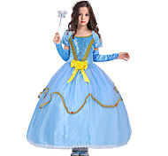 cheap -Princess Cinderella Fairytale Dress Party Costume Kid Christmas Birthday Masquerade Festival / Holiday Halloween Costumes Blue Solid