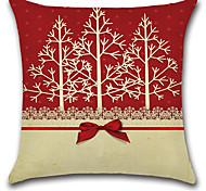 Недорогие -1 шт рождество bowknot рождественские деревья подушка крышка 45 * 45 см диван подушка покрытие хлопок / белье наволочка случае