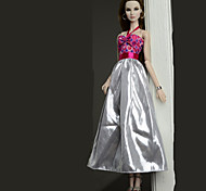 cheap -Dresses Dress For Barbie Doll Silver Poly/Cotton Dress For Girl's Doll Toy