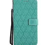 Недорогие -Кейс для Назначение Huawei Mate 10 pro Mate 10 lite Кошелек Бумажник для карт со стендом Рельефный Чехол Сплошной цвет Цветы Твердый