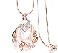 cheap -Women's Rhinestone Imitation Diamond Opal Pendant Necklace - Classic Fashion Peacock Gold Necklace For Daily