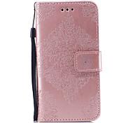 Недорогие -Кейс для Назначение Apple iPhone X iPhone 8 Бумажник для карт Кошелек со стендом Рельефный С узором Чехол Сплошной цвет Мандала Твердый