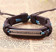 cheap -Men's Boys' Leather Bracelet Vintage Bracelet Retro / Vintage Handmade Inspirational Adjustable Leather Jewelry Gift Daily Casual Sports