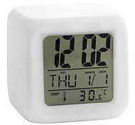 cheap -7 Color LED Glowing Cubic Digital Alarm Clock Calendar Thermometer (White, 4xAAA)