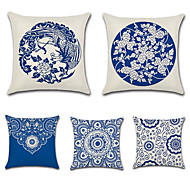 cheap -5 pcs Cotton/Linen Pillow Cover, Floral Bohemian Style Retro