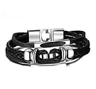 cheap -Men's Chain Bracelet , Fashion Leather Alloy Geometric Jewelry Gift Daily Costume Jewelry Black